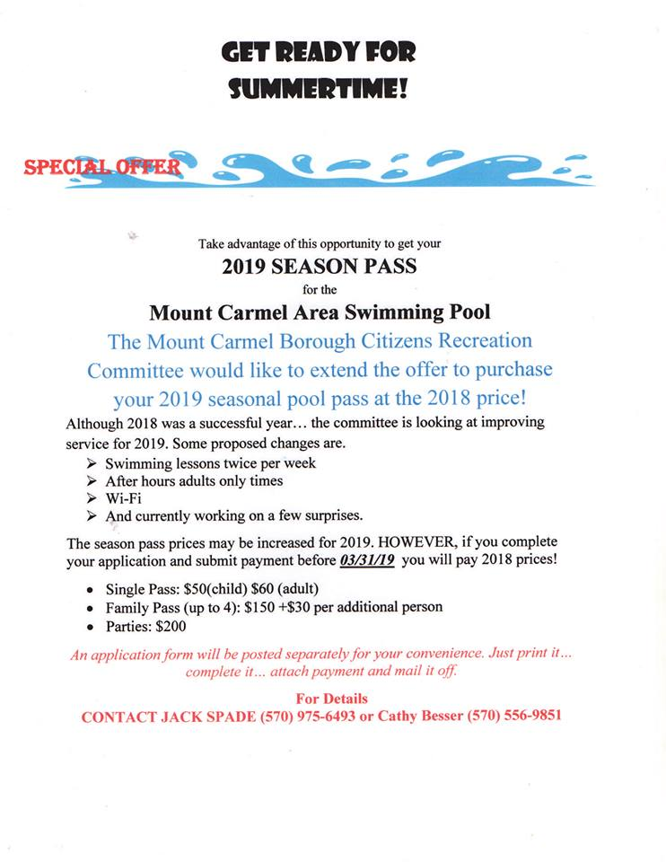 Mount Carmel Swimming Pass